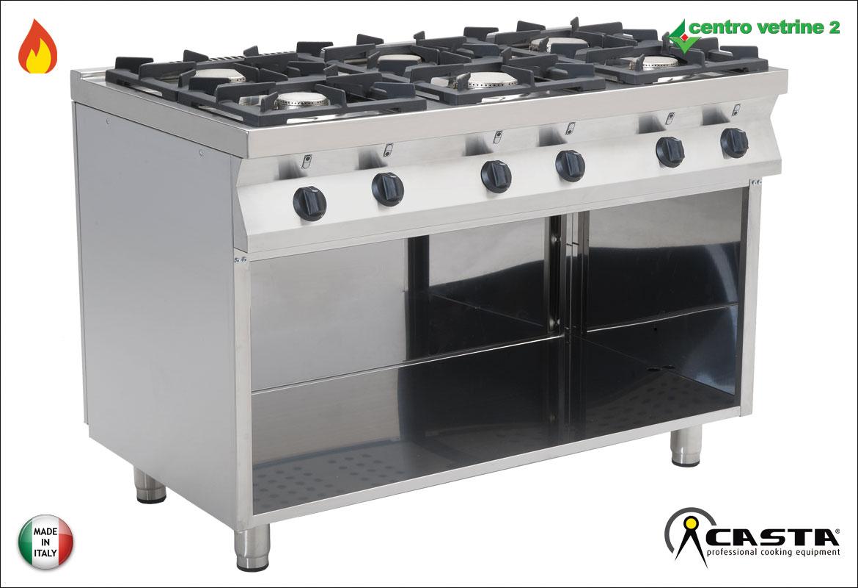 Cucina 6 fuochi a gas su base aperta for Cucina aperta